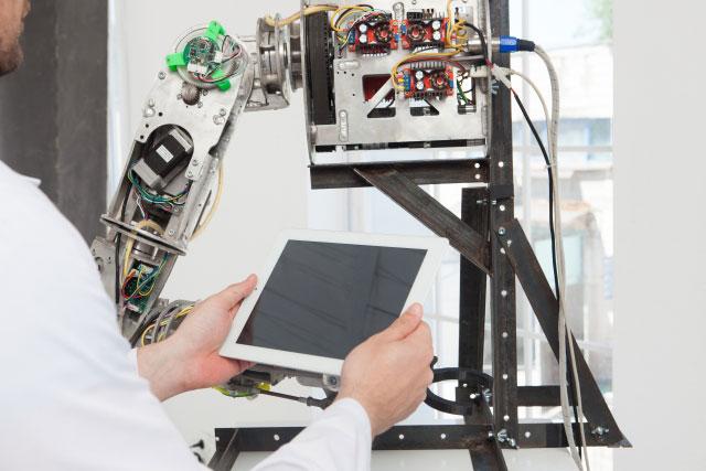 ロボットリハビリテーションの操作風景